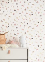 Wallpaper Sally Matt Dots Cream Grey Grey beige shimmer Green beige Light pink