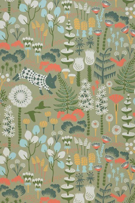 Papel pintado botánico Papel pintado Eurissa verde hoja Ancho rollo
