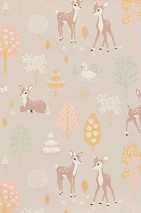 Wallpaper Golden woods Hand printed look Matt Trees Deer Butterflies Birds Pastel brown Antique pink Pale brown Cream Maize yellow Mint turquoise
