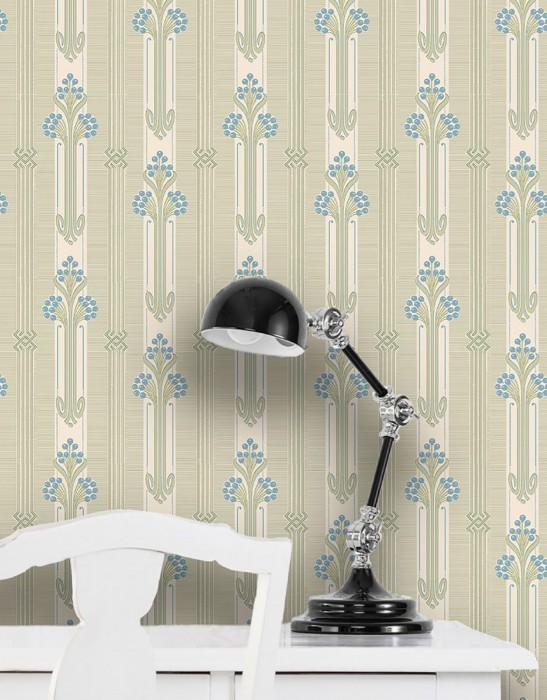 Wallpaper Midela Hand printed look Matt Floral Elements Graphic elements Art nouveau Stripes Green white Pale green Brilliant blue Pine green