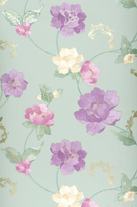 Papel pintado Florentina Mate Flores Verde pálido Violeta érica Oro Violeta