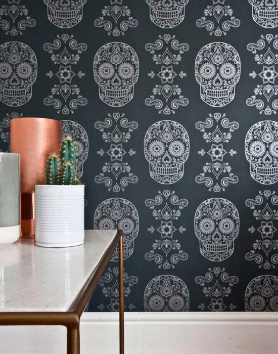 Wallpaper Dia de los Muertos Shimmering pattern Matt base surface Floral Elements Skulls Black grey Silver