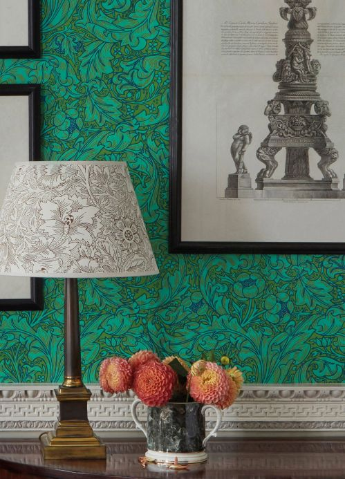 Classic Wallpaper Wallpaper Sutton pastel green Room View