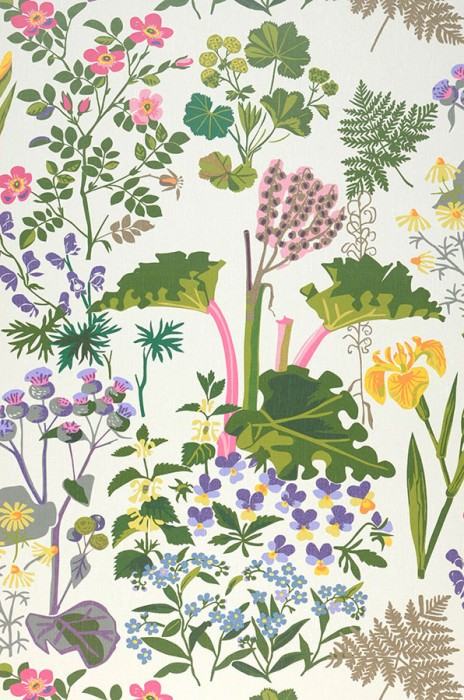 Wallpaper Singa Matt Leaves Blossoms Cream Pale brown Blue Heather violet Yellow Shades of green