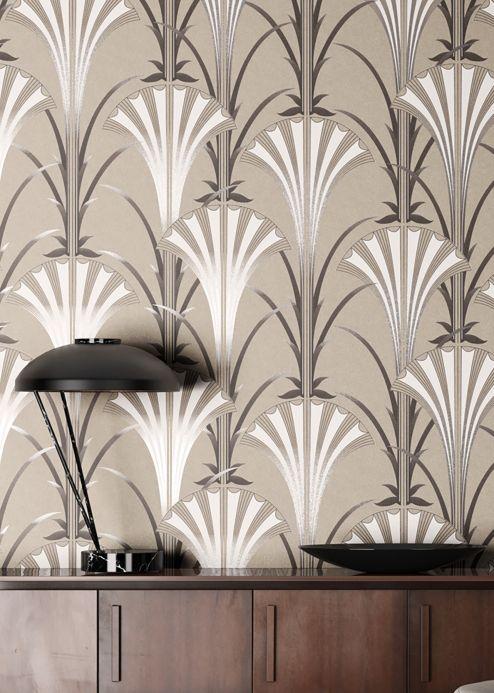 Papel pintado Art Decó Papel pintado Morley gris beige Ver habitación
