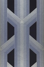 Wallpaper Nama Shimmering pattern Matt base surface Graphic elements Stripes Steel blue Silver grey shimmer Violet blue