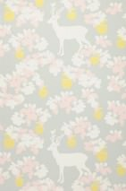 Wallpaper Apple Garden Hand printed look Matt apples Leaves Blossoms Deer   Light grey Pale yellow Pale pink Cream