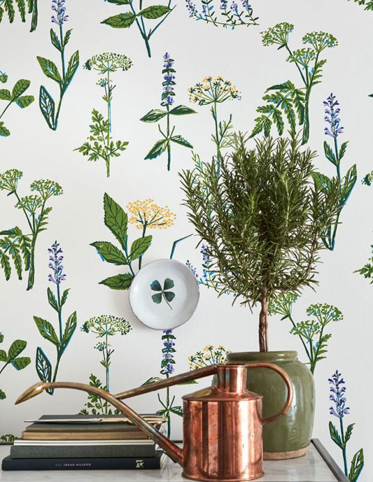 Papier peint botanique Papier peint Evelani vert Vue pièce