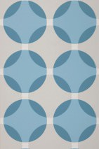 Wallpaper Maude Matt pattern Shiny base surface Geometrical elements Circular pattern Grey white Green blue Light grey Pastel blue