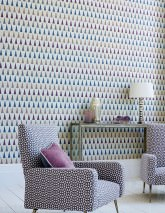 Wallpaper Magica Matt pattern Shimmering base surface Triangles Light grey beige Pearl beige Brown Dark blue Grey blue Crimson violet