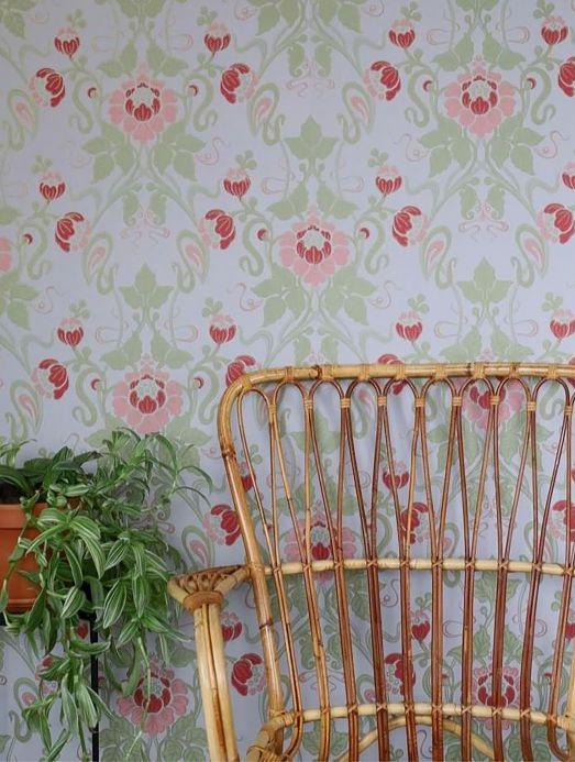 Papel de parede Art Nouveau Papel de parede Clothilde verde claro Ver ambiente
