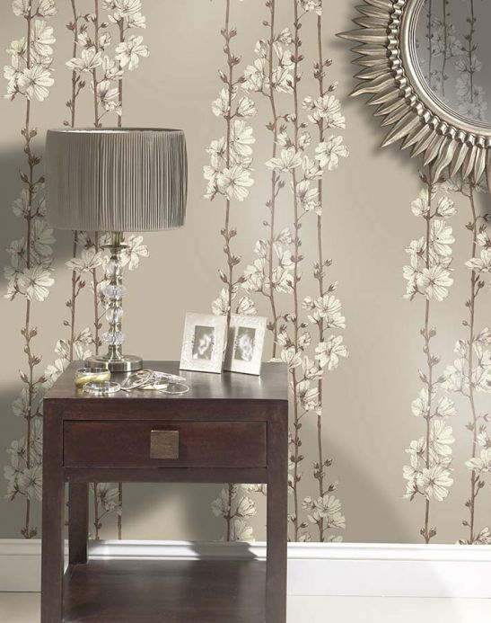 Archiv Wallpaper Hera light grey brown Room View
