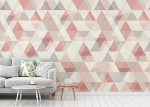 Wallpaper Orlando Matt Triangles Brown white Light grey brown Rosè Rosewood