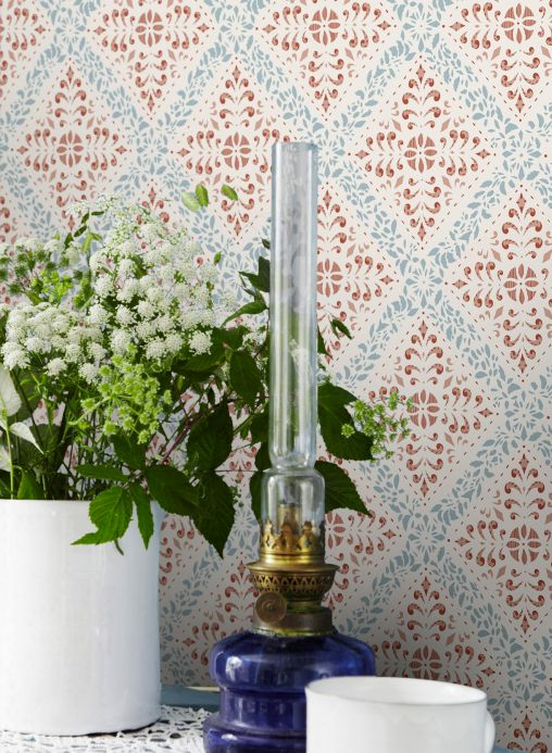 Classic Wallpaper Wallpaper Rosalie ruby red Room View