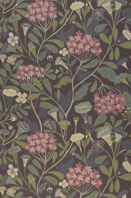 Papier peint floral Papier peint Flowery brun gris Bahnbreite