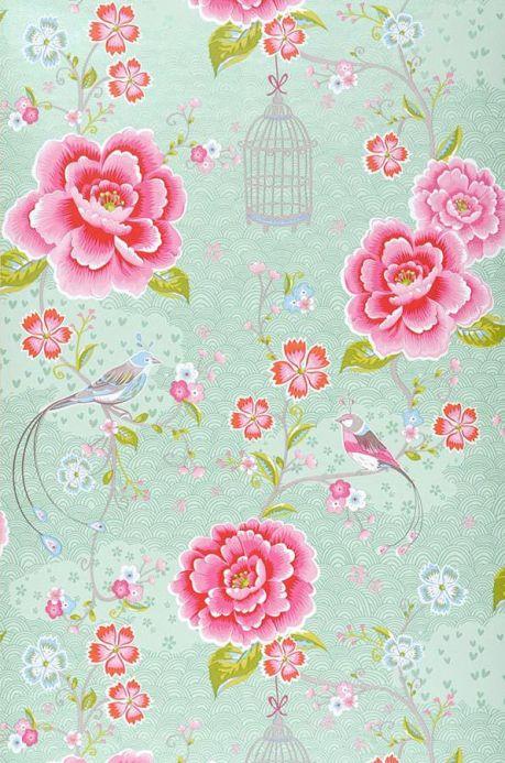 Papel pintado floral Papel pintado Amina verde blanquecino Ancho rollo