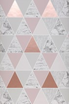 Wallpaper Zento Matt Triangles White Pale red-brown Grey tones Pearlescent rosewood