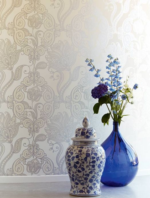 Archiv Wallpaper Lawal silver shimmer Room View