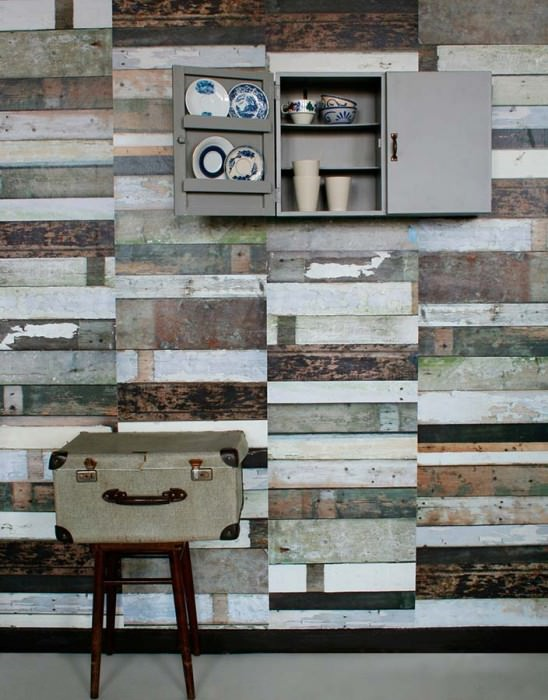 Wallpaper Scrapwood 13 Matt Shabby chic Imitation wood Grey Light grey blue Olive green Black brown