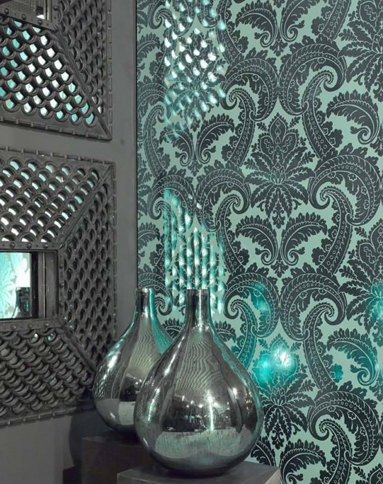Carta da parati Nemesis Effetto metallico Damasco barocco Turchese pastello Verde smeraldo lucido