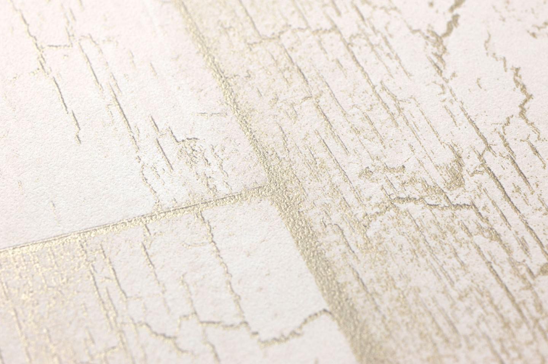 Papel pintado atoras blanco crema oro perla papeles - Papeles pintados de los 70 ...