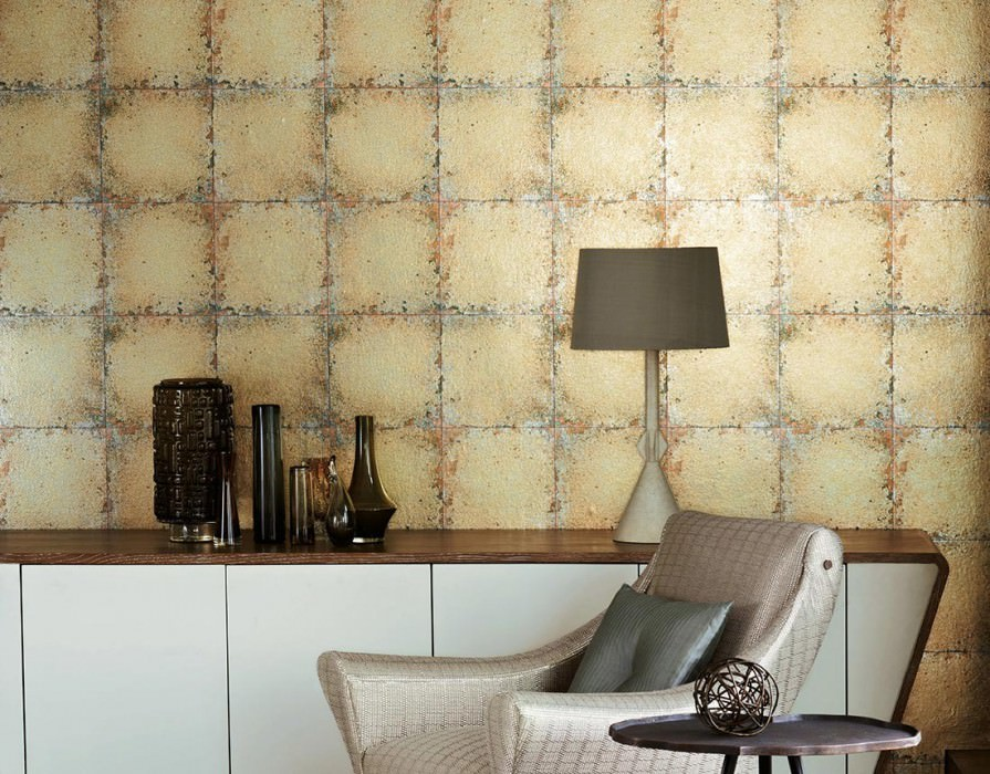 Wallpaper Heilango Shimmering Imitation glazed tiles Gold Copper Black green