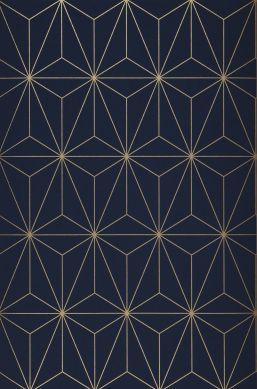 Papel de parede Morton azul aço Bahnbreite