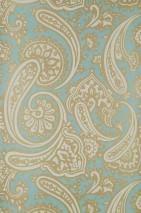 Carta da parati Sampati Disegno brillante Superficie di base opaca Disegno paisley Blu chiaro Bianco crema Oro lucido