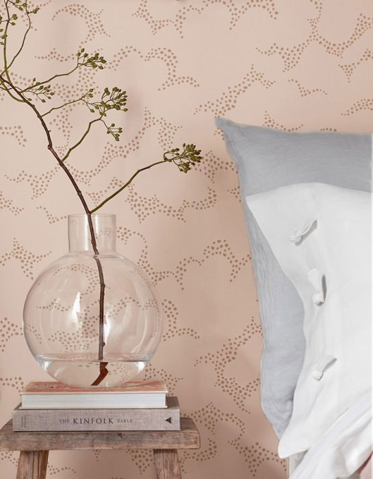Wallpaper Reina Hand printed look Matt Clouds Pale pink Grey beige