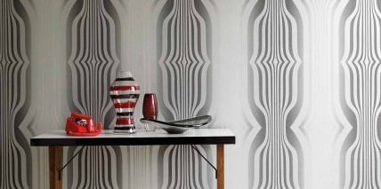 Wallpaper Mandulis Shimmering pattern Matt base surface Retro elements Anthracite grey Platinum grey Silver