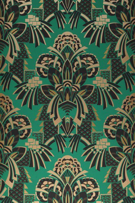 Papel de parede Art Déco Papel de parede Demetrius verde Largura do rolo