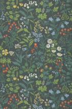 Wallpaper Aislinn Hand printed look Matt Field flowers Anthracite Green Pastel blue Red orange White