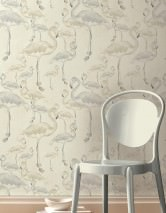 Wallpaper Amidala Matt pattern Shimmering base surface Flamingos Cream Grey beige Light grey