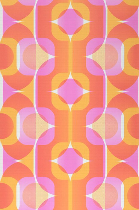 Wallpaper Sinon Matt Retro elements Cream Light orange Magenta Red orange