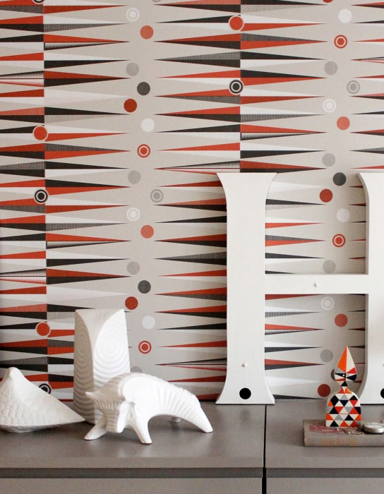 Papel pintado Tudor Mate Elementos geométricos Crema Blanco crema Gris oscuro Naranja