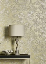 Wallpaper Alenia Shimmering Trees Leaves Palm trees Green-beige shimmer Cream shimmer Light grey