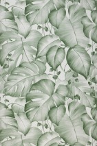 Wallpaper Gisah Matt Leaves White Moss-green