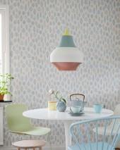Wallpaper Milo Matt Stylised leaves White Pale blue Pale brown beige Pale green Grey