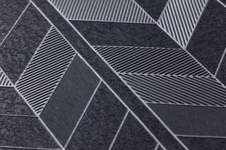 Papel pintado Herringbone by Porsche Patrón brillante Superficie base mate Elementos geométricos Antracita Aluminio blanco