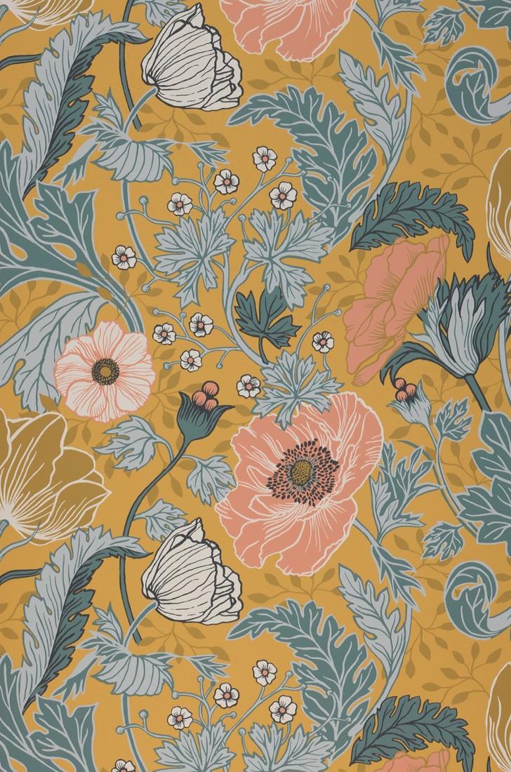 Wallpaper Soria Ochre Yellow Antique Pink Blue Green Grey