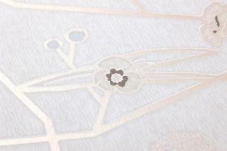 Wallpaper Chelsea Hand printed look Matt Stylised Flower Tendrils Cream Pale blue Cream shimmer Grey brown Oyster white