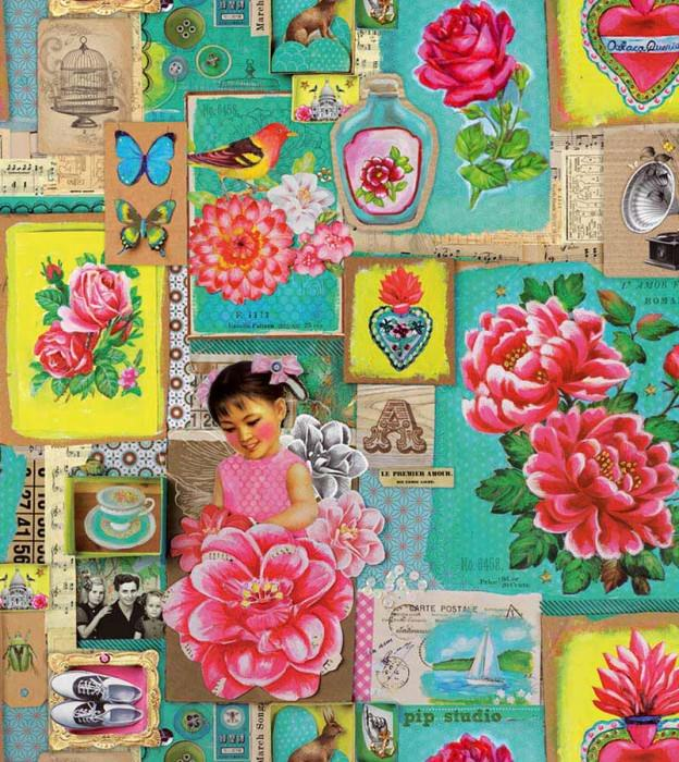 Wallpaper Porewit Matt Old photos and postcards Flowers Vintage pictures Birds Strawberry red Yellow Green Turquoise