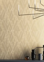 Wallpaper Robin Shimmering pattern Matt base surface Graphic elements Rhombuses Stripes Cream Light grey beige Brown grey Grey beige shimmer White