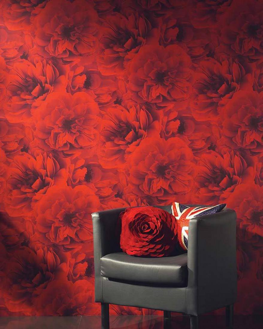 papier peint melope rouge gris noir papier peint des. Black Bedroom Furniture Sets. Home Design Ideas