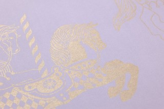 Papel pintado Trinity Patrón brillante Superficie base mate Caballitos Lavanda claro Oro perla