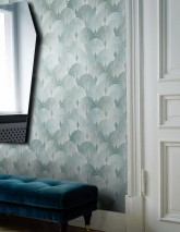 Wallpaper Sabia Matt Art Deco fans Green white Mint turquoise Mint turquoise shimmer Reed-green shimmer