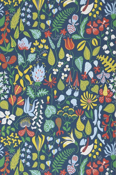 Papier peint design Papier peint Eurynome vert jaune Largeur de lé