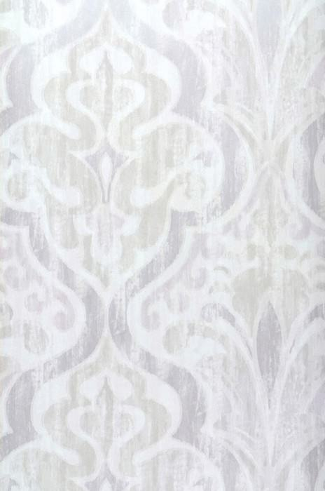 Wallpaper Artio Matt Baroque damask Cream Pale pastel violet Light grey beige Silver grey shimmer