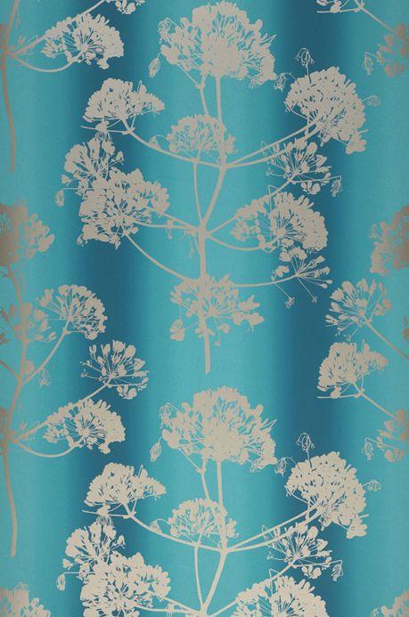 Papier peint floral Papier peint Emorie bleu turquoise Largeur de lé