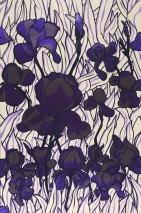 Wallpaper Iris Chrome effect Shimmering Lilies Cream Chrome lustre Pastel violet Black violet Violet